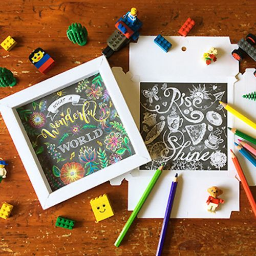 Mother's Day Gift - 4 Set of Be Happy Chalk-Style Design Colouring Art with 3D Frame