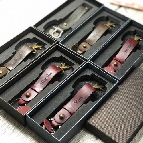 Genuine Keyring Cowhide Leather Handmade
