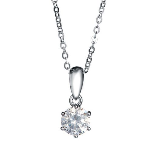 Kelvin Gems 6 Prong Solitaire Pendant Necklace Made With Swarovski Zirconia