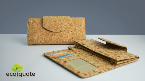 EcoQuote Long Wallet Round Side Strap Button Handmade Cork Fabric Eco-Friendly Material, Sustainable & Great For Vegan