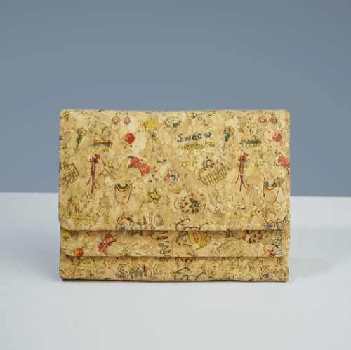EcoQuote Medium Compact Button Wallet Handmade Eco-friendly Cork Material, Sustainable & Great for Vegan