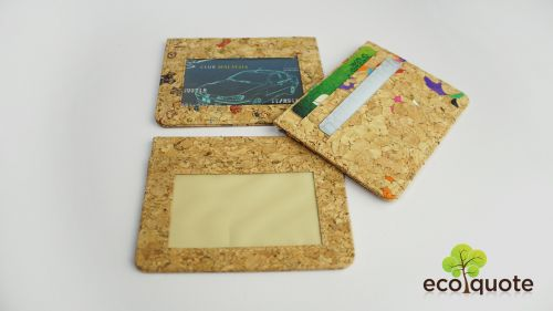 EcoQuote Simple Card Holder Handmade Eco Friendly Cork Material Great for Vegan, Environment Concious Friends