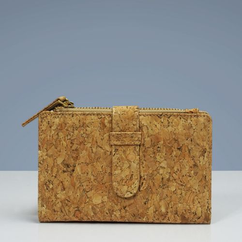 EcoQuote Hasp Bi Fold Side Zip Wallet Handmade Eco-Friendly Cork Material for Vegan