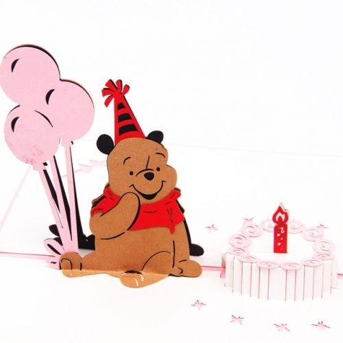 Handmade 3D Greeting Card - Birthday Winnie The Pooh