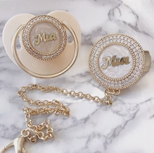 Personalized baby name pacifier with clip set