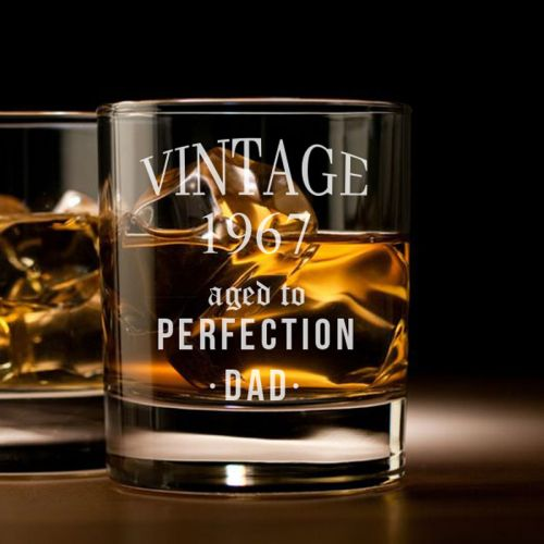 'AGED TO PERFECTION'' PERSONALIZED ROCK GLASS (SINGLE) 10 OZ- (VINTAGE COLLECTION)