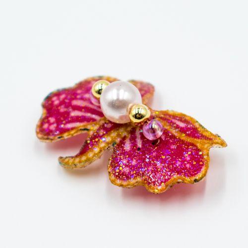 Pink Batik Brooch