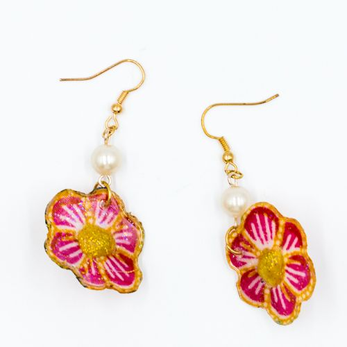 Batik Pink Floral Earrings