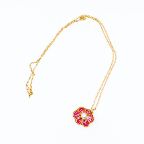 Batik Pink Flower Pendant with Rose Gold Chain