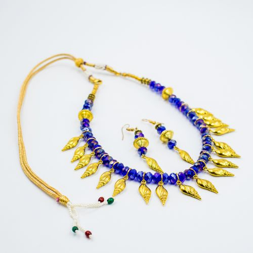 Dashing Blue Mix Gold Set Jewelry (Earring & Necklace)