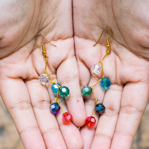 Simple  Earrings Branches Shaped Beads Crystal Drop Earrings