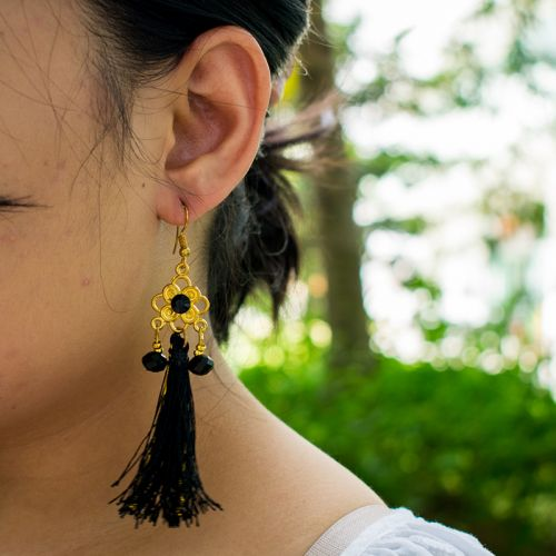 Black with Gold Thread Tassel Dangle Earrings for Parties
