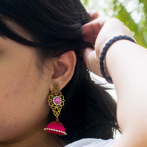 Silk Thread Indian Style Jhumka Earrings