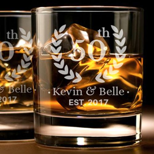 'ANNIVERSARY' PERSONALIZED ROCK GLASS SET 10 OZ