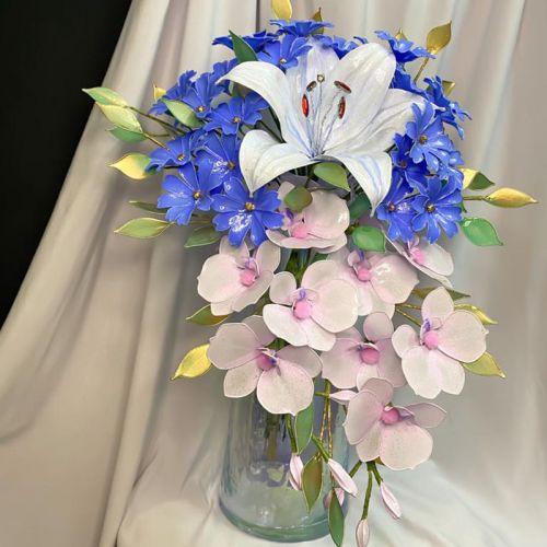 Azure Resin Flower Bouquet