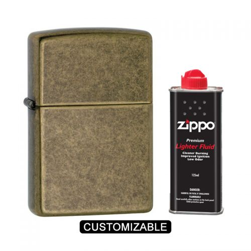 Zippo 201FB Antique Brass Lighter