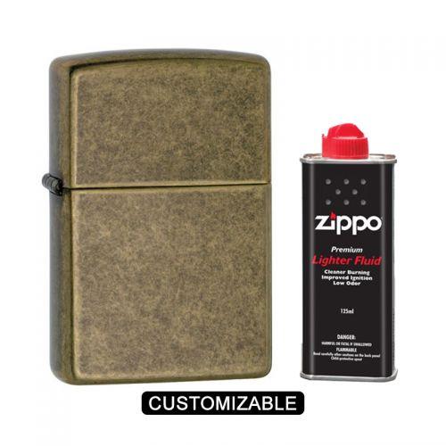 Zippo 201FB Antique Brass Lighter