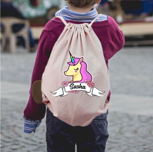 Personalized Unicorn Draw String Bag
