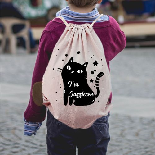 Personalized Cat Draw String Bag