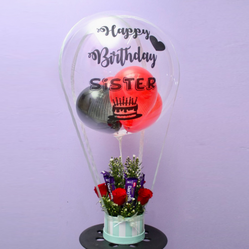 Rose & Choc Box with Customize Balloon