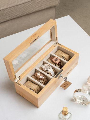 Personalized 5 Slots Beech Wood Watch Box