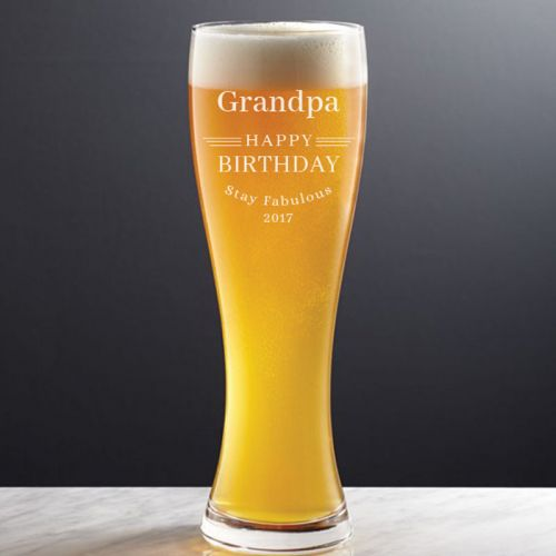 'BIRTHDAY' PERSONALIZED BEER GLASS 21OZ