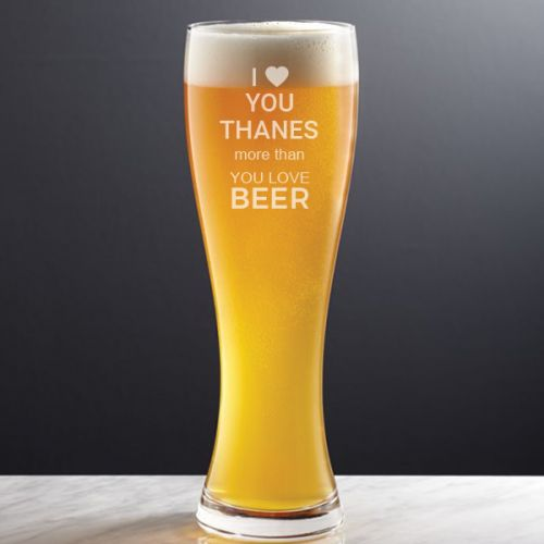 """I LOVE YOU"" PERSONALIZED BEER GLASS 21OZ"