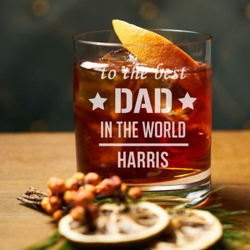 'Best Dad' Personalized Rock Glass (Single) 10 OZ