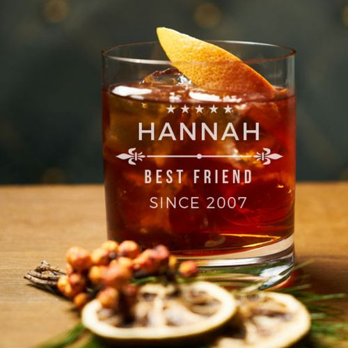 'BEST FRIEND' PERSONALIZED ROCK GLASS (SINGLE) 10 OZ- (MINIMALIST COLLECTION)