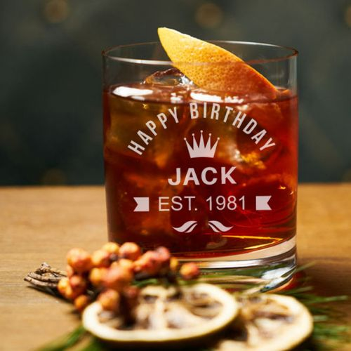 'BIRTHDAY' PERSONALIZED ROCK GLASS (SINGLE) 10 OZ