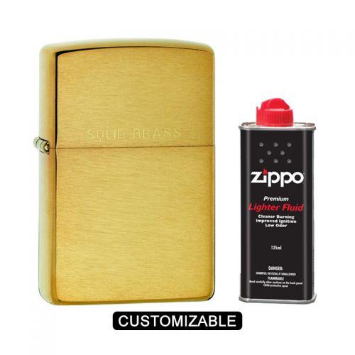 Zippo 204 Reg Classic Solid Brass Lighter