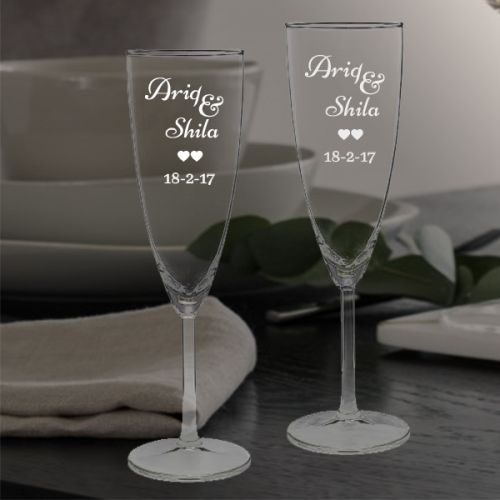 'TWO HEARTS' WEDDING PERSONALIZED CHAMPAGNE FLUTE SET (V-TYPE)