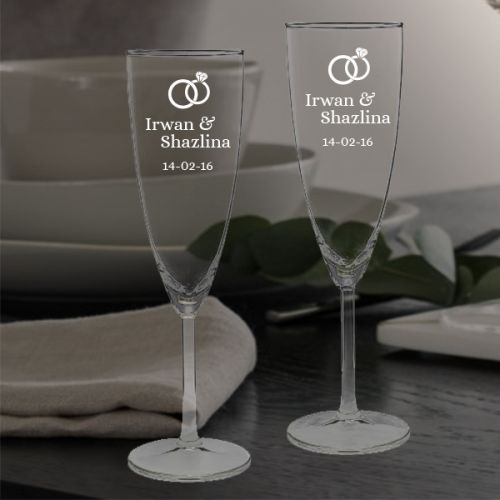 'WEDDING RING' PERSONALIZED CHAMPAGNE FLUTE SET (V-TYPE)