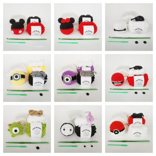 Crochet Amigurumi Cartoon Characters Kit Material Package