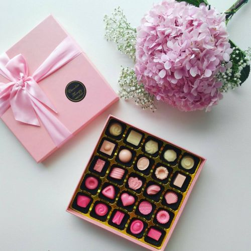 A Box Of Chocolate Gift With Personalizable Shade Of Pink Touch