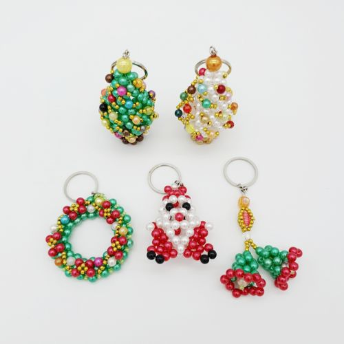 Beaded Handmade Crafts Christmas Series 3D Keychain, Charms For Handbag, Clutch & wallet, Unique and Special