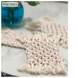 Handmade Macrame Regina Coasters Set of 4