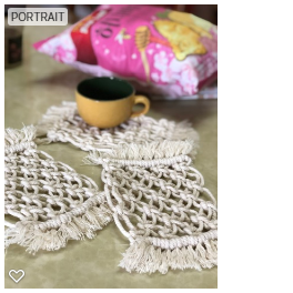Handmade Macrame Pine Coaster Set of 4