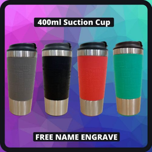 400 ml Stainless Steel Suction Tumbler [FREE NAME ENGRAVING]