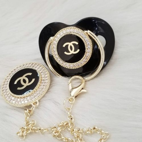 Chanel inspired pacifier with clip set