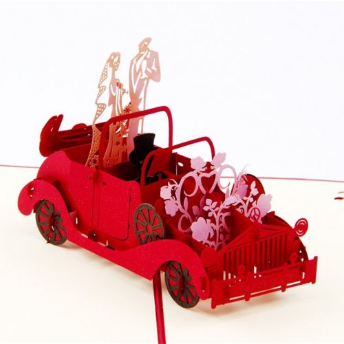 Handmade 3D Greeting Card - Wedding Car