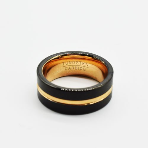 Personalised Black Rose Gold Fashion Ring