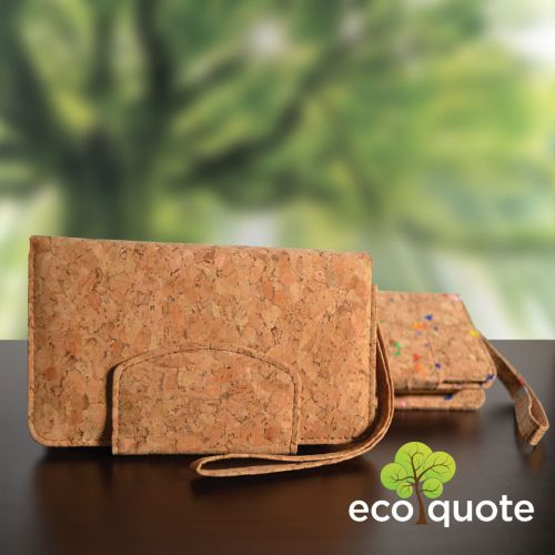 EcoQuote Long Wallet Wristlet Handmade Cork Eco Friendly Material, Sustainable & Great For Vegan