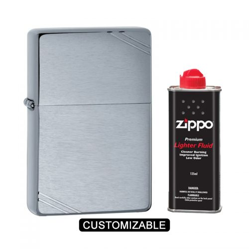 Zippo 230 Vintage Chrome with Slashes Lighter