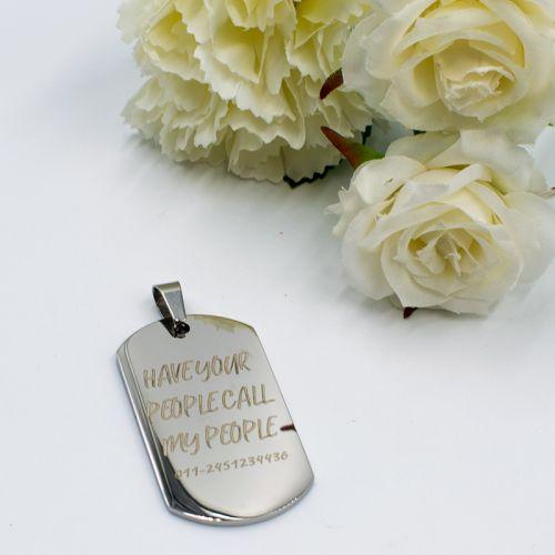 Army Tag Pendant (P009) + FREE ENGRAVING