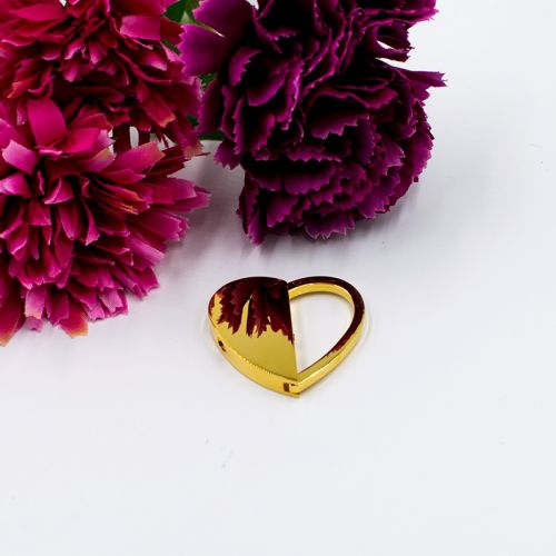 Gold Half Heart Keychain (C008) + FREE ENGRAVING