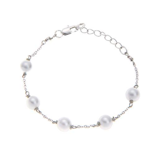 Kelvin Gems Fiji White Swarovski Crystal Pearl Bracelet