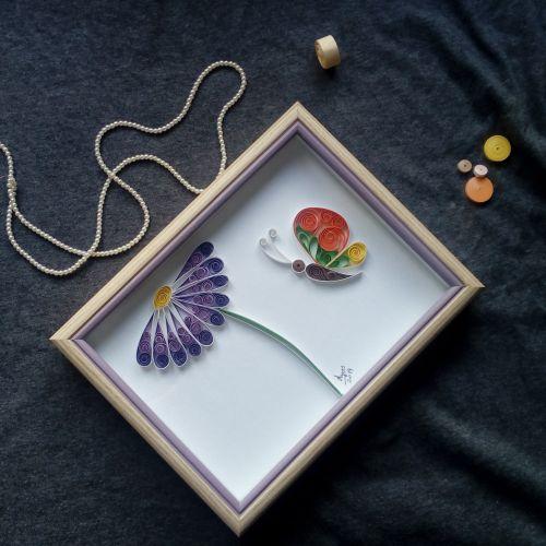 Flower with butterfly- Quilling art- wall deco -interior art-quilled wall art- framed artwork-original art-paper- 3D- wall hanging-handmade