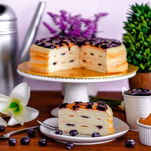 Blueberry & Peanut Butter Crepe Cake