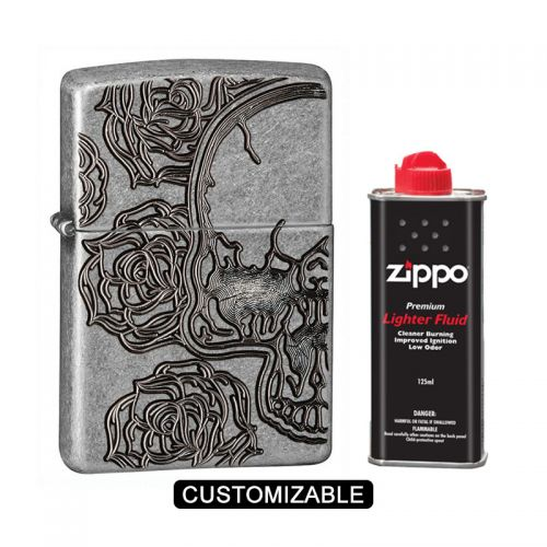 Zippo 28988 Skull Roses Antique Silver Plate Lighter